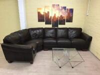Elegant Brown Leather Corner Sofa