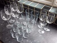 Set of assorted glassware: large bohemia crystal wine glasses, pint glasses, tumblers...