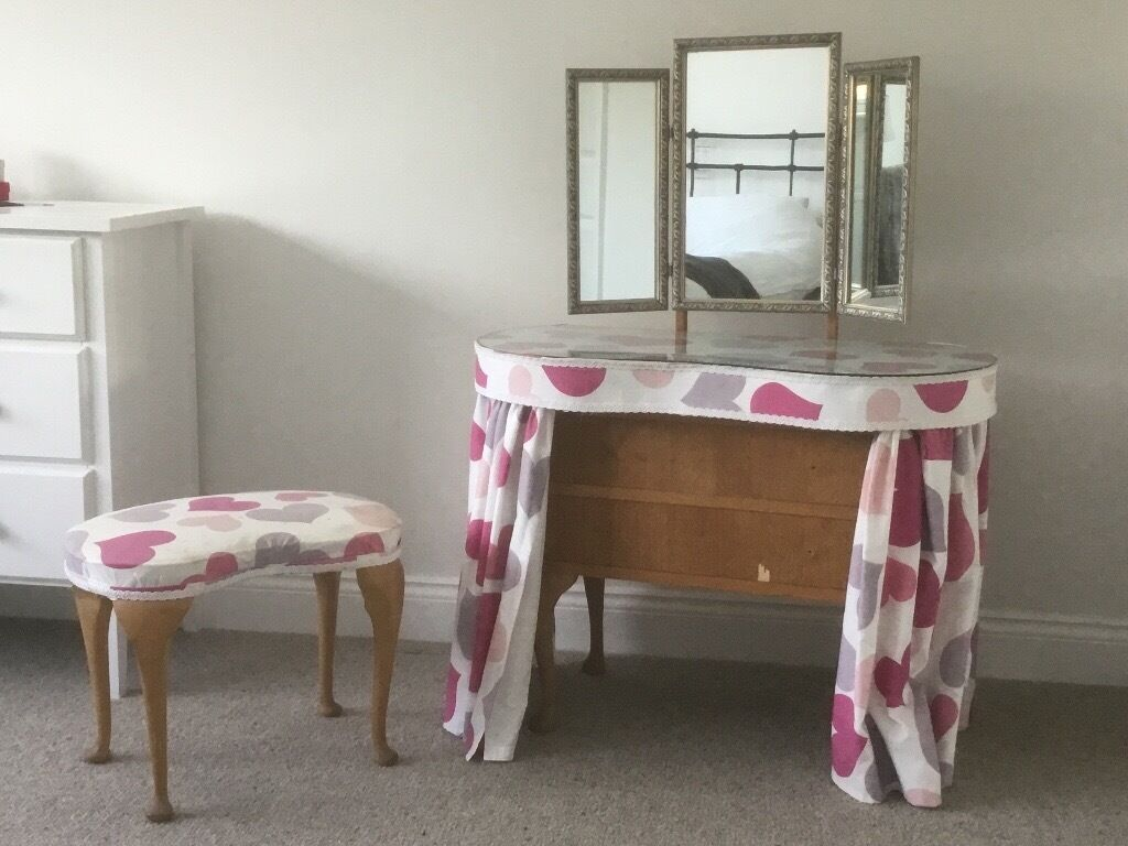 Vintage Kidney Shaped Dressing Table Mirror And Stool