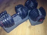 2 variable weight 21kg dumbbells