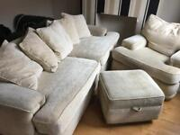 4 seater sofa, and footstool with storage option *armchair now sold*
