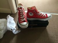 Red high top Converse for sale, size 5, never worn