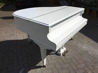 White Challen Baby Grand Piano..