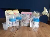 Avent Breast Pump & Pack 2 Brand New Bottles, New Breast Pads.