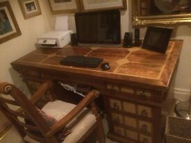Barker and Stonehouse Flagstone Office Desk Fruit Wood Pedestal Knee Hole