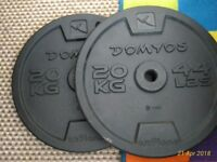 Two 20kg (total 40kg) cast iron weight discs - excellent condition - Like NEW