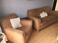 Champagne suede sofa chair & large footstool - cheap!!!