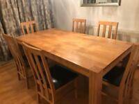 Dining Table and 6 chairs (Solid Oak)