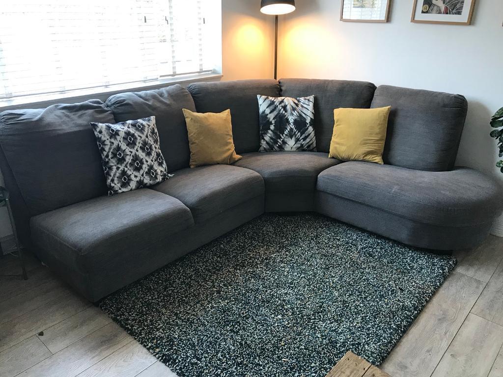 Ikea Corner Sofa In Grey Tidafors Left 195