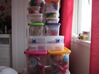 boxes of art & craft stuff for sale, including glue gun & sticks,also includes three draw storage.