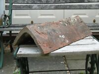 Very old attractive rustic red ridge tiles - 7no.