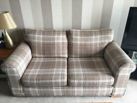 Next - 2 seater sofa in beige / brown check