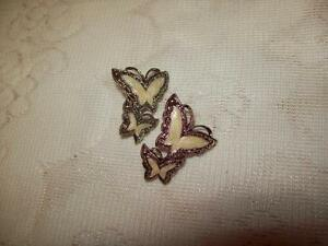 DOUBLE BUTTERFLY PIERCED EARRINGS
