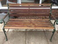 Cast Iron and Mahogany Slatted Bench - restored
