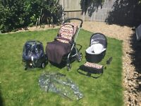 Mama and Papas Pushchair, carrycot and car seat