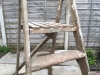 Retro Painter Ladder - dated 60s/70s, covered in authentic paint splatters. Folds away.