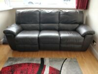 Leather reclining sofa and chairs