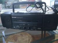 Portable stereo combination unit.