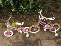 Two small girls bikes, used but working