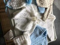 Large box of knitted baby cardigans Ect 55 items 0/3 and 6/12 months boys