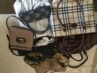 "7 gently used purses - ""GUESS"" included"