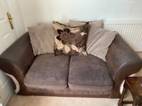 Brown and beige 2 seater scatter back sofa
