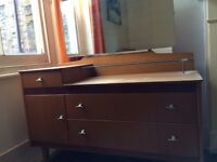 VINTAGE 1960s LEBUS DRESSING TABLE WITH MIRROR