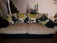 2 and 3 seater sofa with pouffe