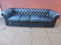 A Blue Leather Chesterfield Four Seater Sofa Settee