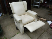 white leather recliner chair electric