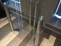 TV Stand glass and chrome