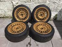 "BBS RZ 4X100 15"" 7J Alloy Wheels Fresh Refurb Gold BMW E30 Fits Mx5 Golf Polo Civic Micra Lupo etc"