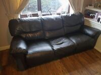 2 Chocolate Brown Three seater real leather reclining sofa's