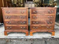 Gorgeous Pair of Vintage Walnut Bedside Chests
