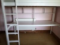 Single Bunk Bed with desk underneath - clean mattress included