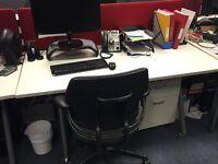 6 white office desks, 2 red desk screens, 4 white office corner desks