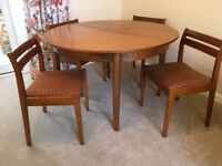 Teak Veneered Extendable Round Table and 4 Chairs