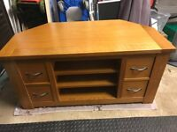 Solid wood - light oak, corner TV unit.