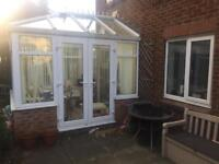 Glass roof Conservatory uPVC Pilkington Activ clear self-cleaning glass roof French Doors