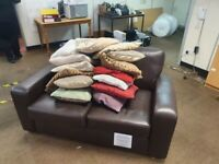 PRICED REDUCED Leather Brown Next 2 Seater Sofa with 1 Arm Chair