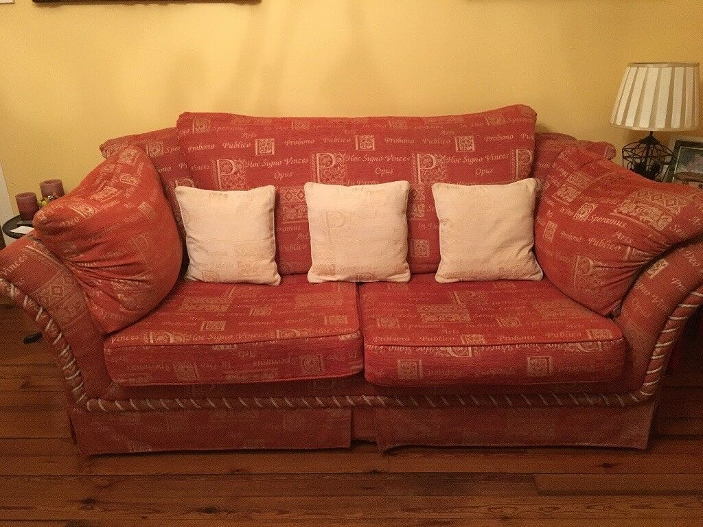 Sofa and Seats. 3 seater sofa and 2 arm chairs.