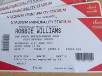 5 ROBBIE WILLIAMS TICKETS FOR SALE £40.00 EACH PRICIPALITY STADIUM CARDIFF
