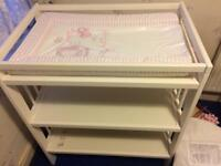 Cot with mattress, baby bath, changing mat and changing table