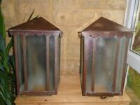Old outside copper lamps