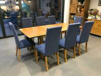 M&S Lichfield (Oak) Extending Dining Table with 8 matching chairs
