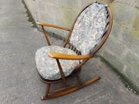 VINTAGE MID CENTURY DESIGN ERCOL ROCKING CHAIR ORIG CUSHIONS RUSTIC MODERN HOME DECOR USE GC
