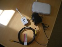 NETGEAR 0681 SKY MODEM ROUTER, + Power Adaptor; Ethernet Cable; ADSL. White.