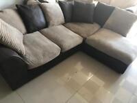 Ex Display Brown Leather and Fabric Corner Sofa