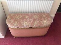 Vintage mid century original Lloyd Loom ottoman/blanket box.