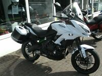 Kawasaki Versys 650 grand tourer - White - as new condition with matching panniers
